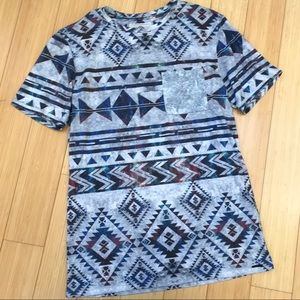 ON THE BYAS Aztec galaxy t- shirt, men's small.